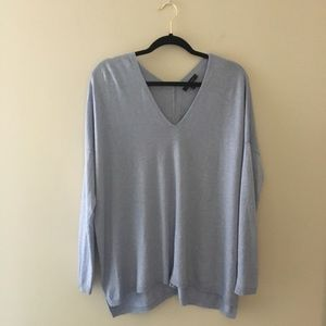 Ann Taylor boxy double v-neck sweater. Light blue
